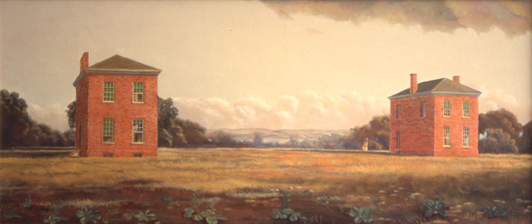 "The Wings: Tudor Place, 18"" x 48"", oil on canvas"