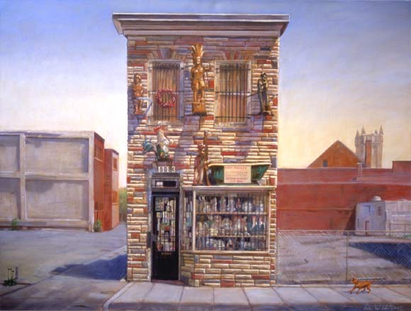 "Mr. Basiliko's Shop, 48"" x 36"", oil on canvas"