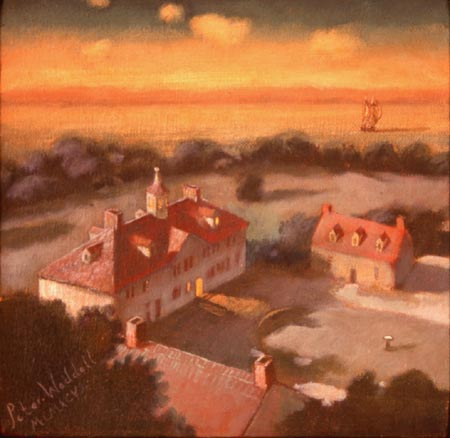 "Nocturne at Mount Vernon, 12"" x 12"", oil on canvas"